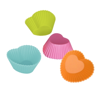 Lot de 12 caissettes en silicone coeur couleurs vives assorties - YouCook